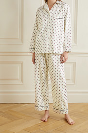Pour Les Femmes Piped printed cotton pajama set