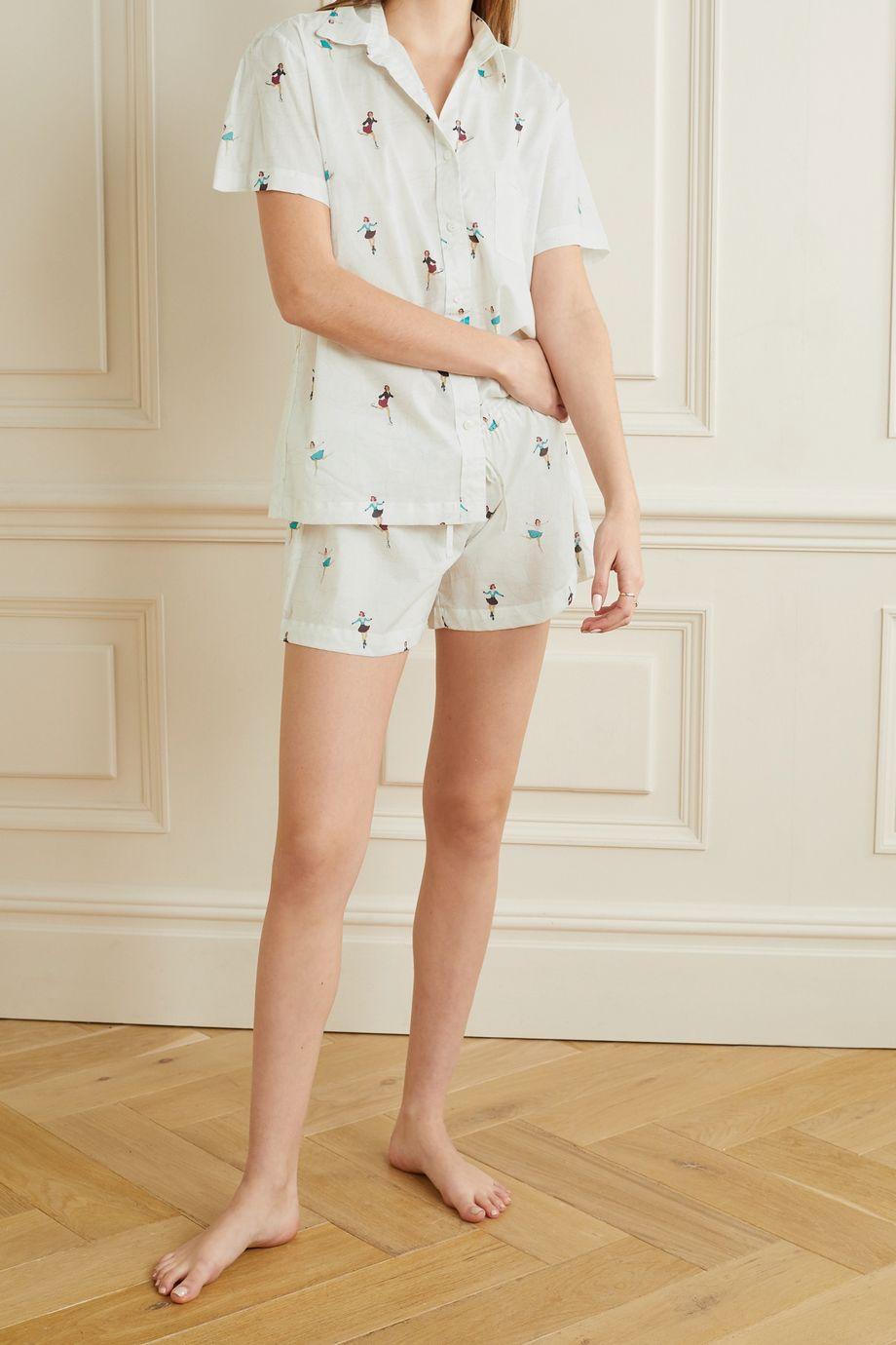 Pour Les Femmes Pyjama aus bedrucktem Baumwoll-Voile