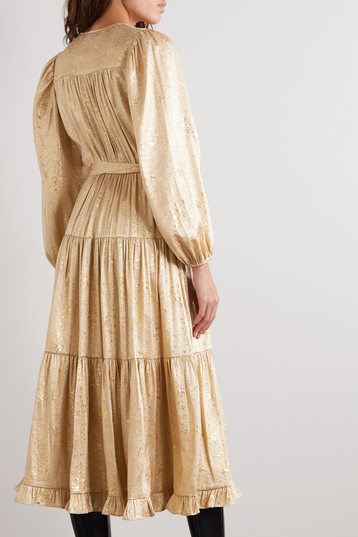 Ulla Johnson Helena belted tiered floral-print silk and Lurex-blend midi dress