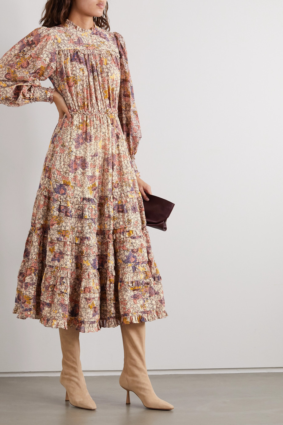 Ulla Johnson Laraline tiered ruffled floral-print cotton-blend midi dress