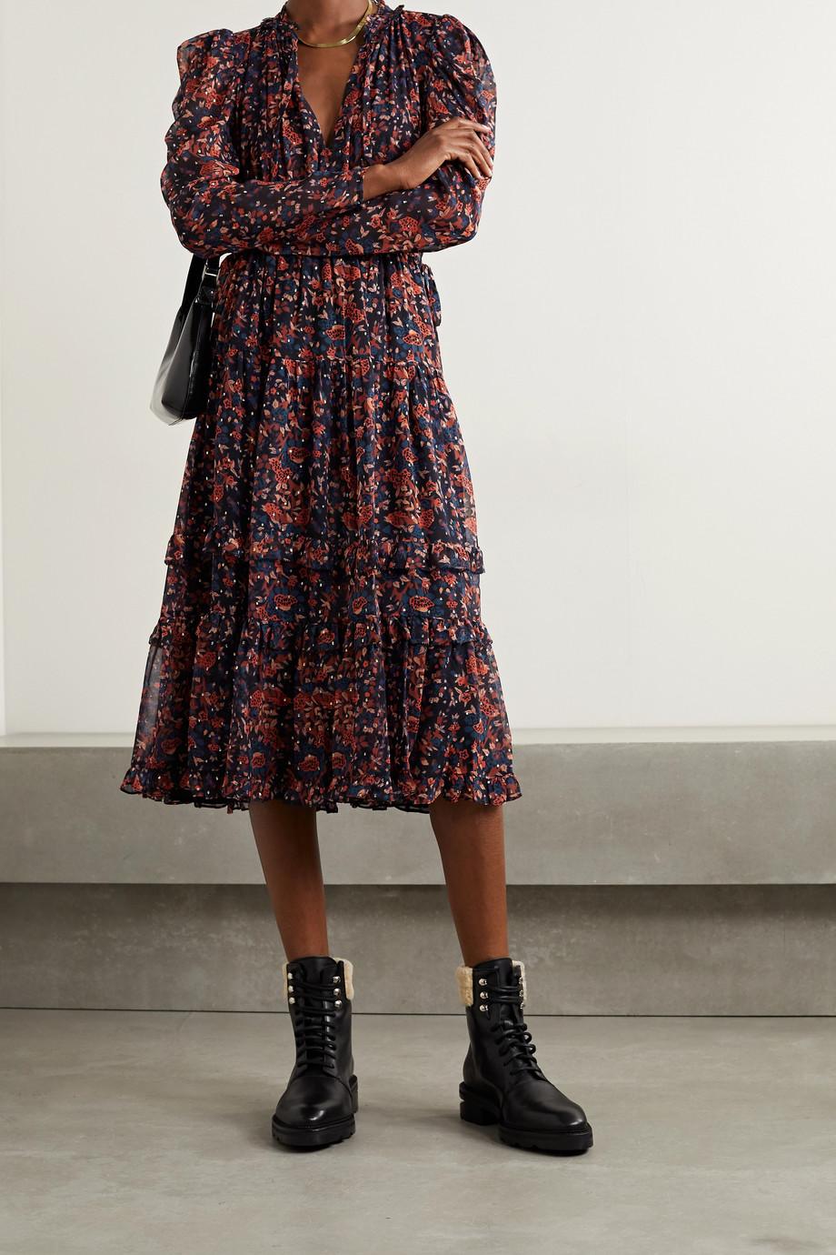 Ulla Johnson Beatrice floral-print fil coupé silk and Lurex-blend dress