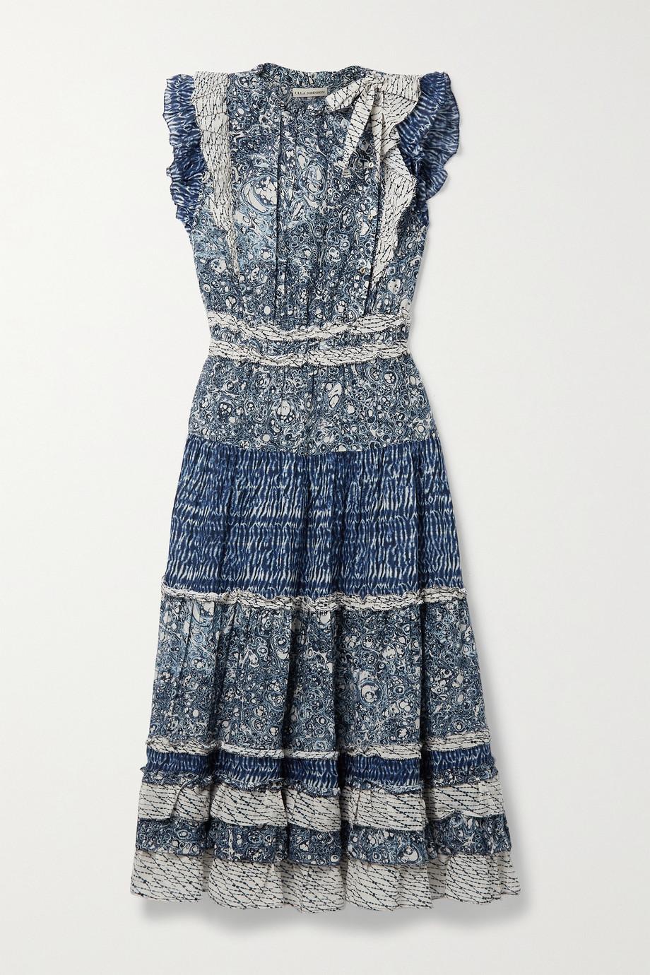 Ulla Johnson Kiri ruffled patchwork printed cotton-blend voile midi dress