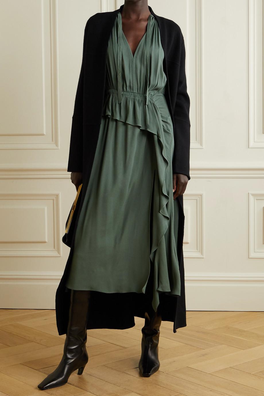 Ulla Johnson Leah draped ruffled crepe midi dress