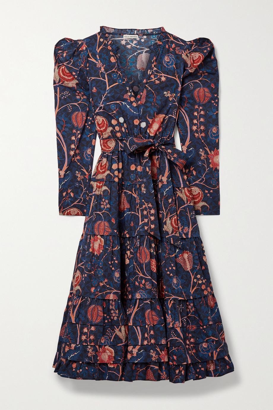 Ulla Johnson Nanette belted tiered floral-print cotton-poplin midi dress