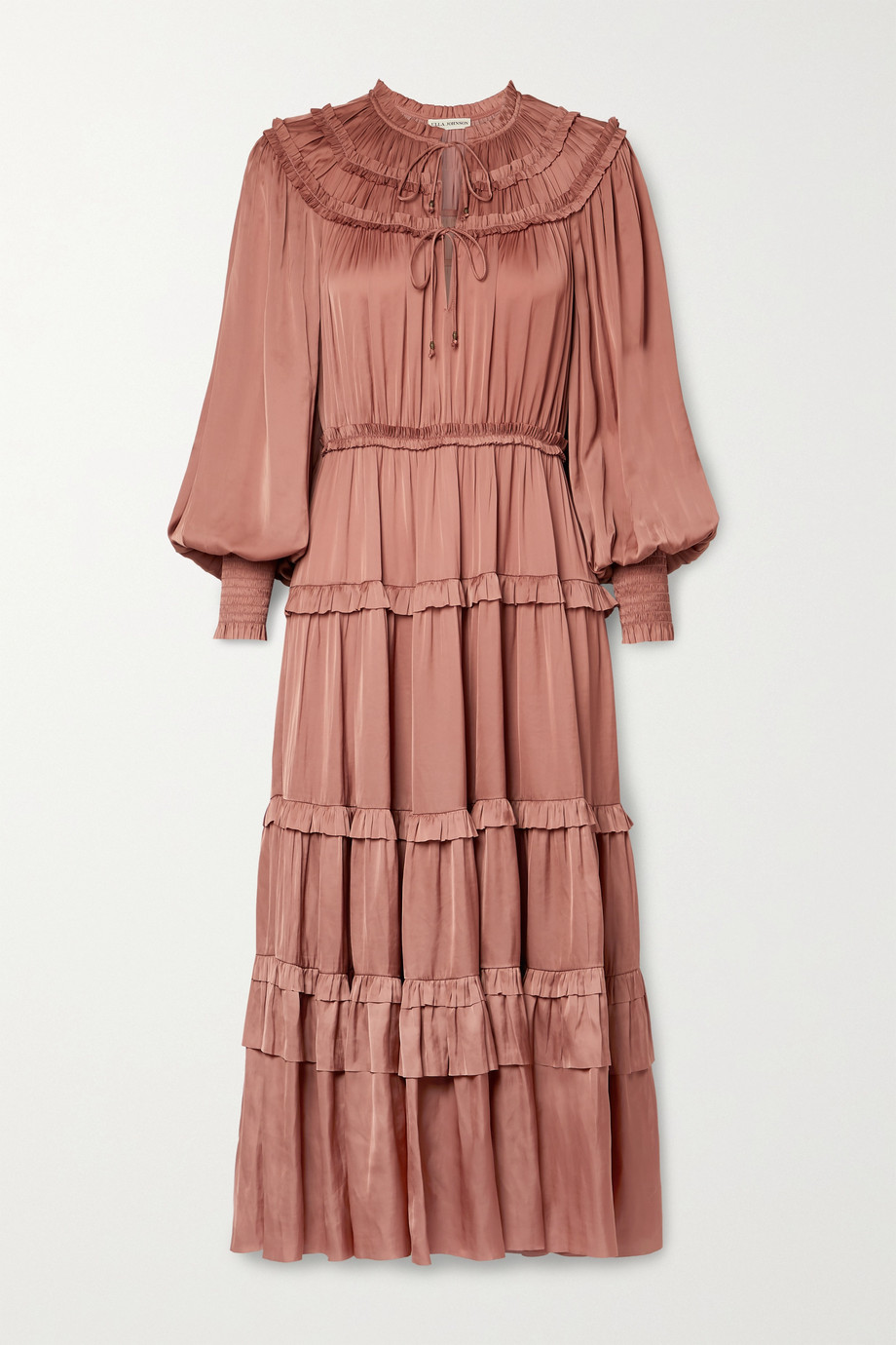 Ulla Johnson Robe midi en satin à volants Serena