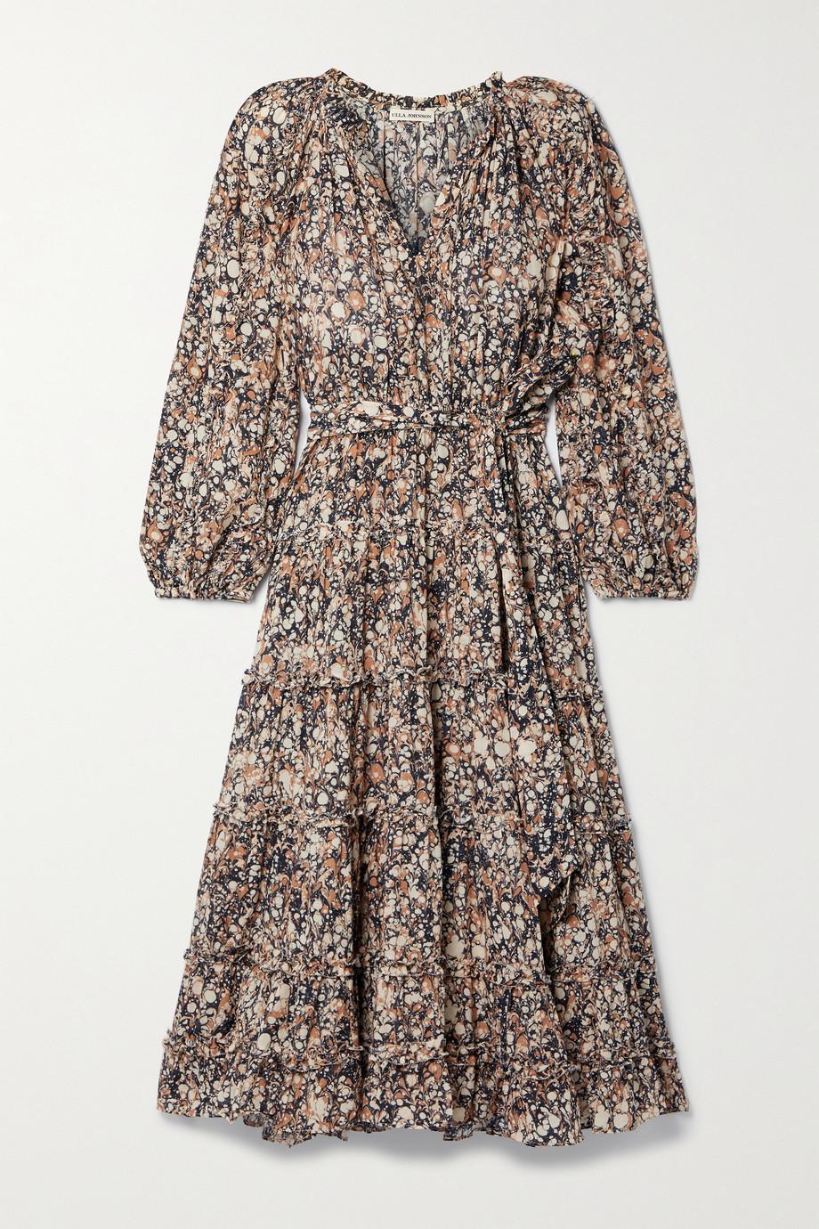 Ulla Johnson Anzu tiered printed cotton-blend voile midi dress
