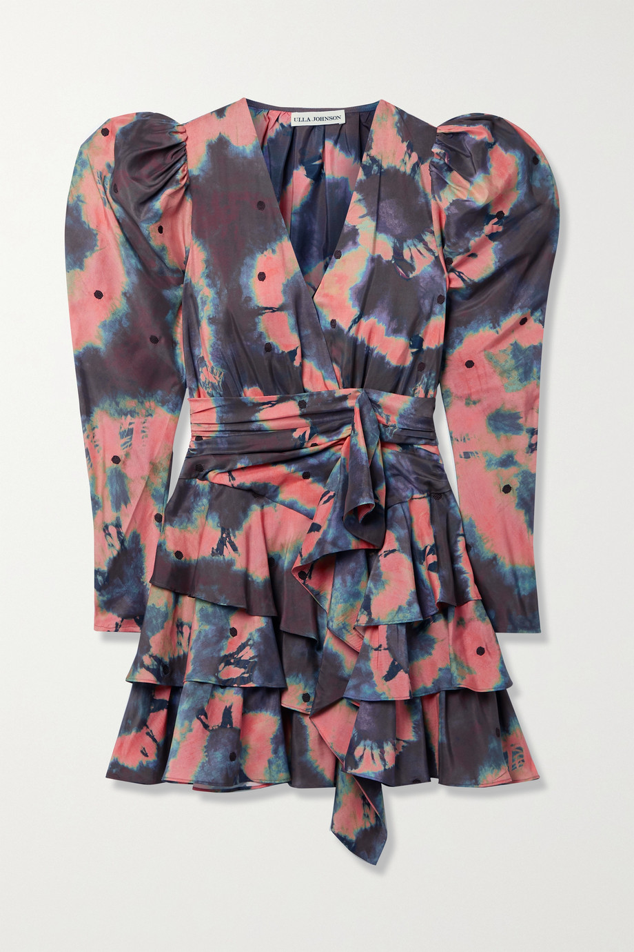 Ulla Johnson Semira belted ruffled embroidered tie-dyed silk crepe de chine mini dress