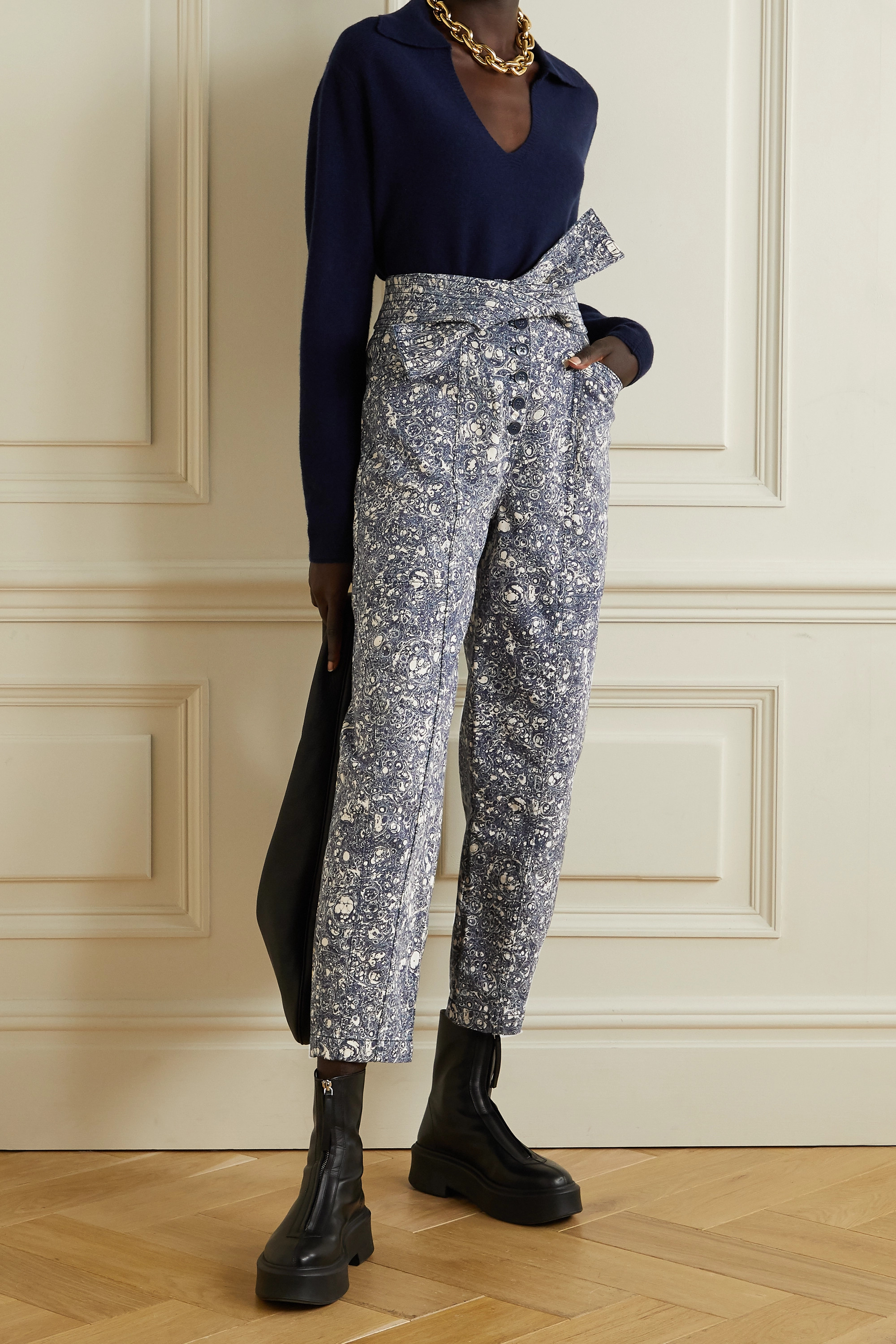 Ulla Johnson Otto printed high-rise tapered jeans