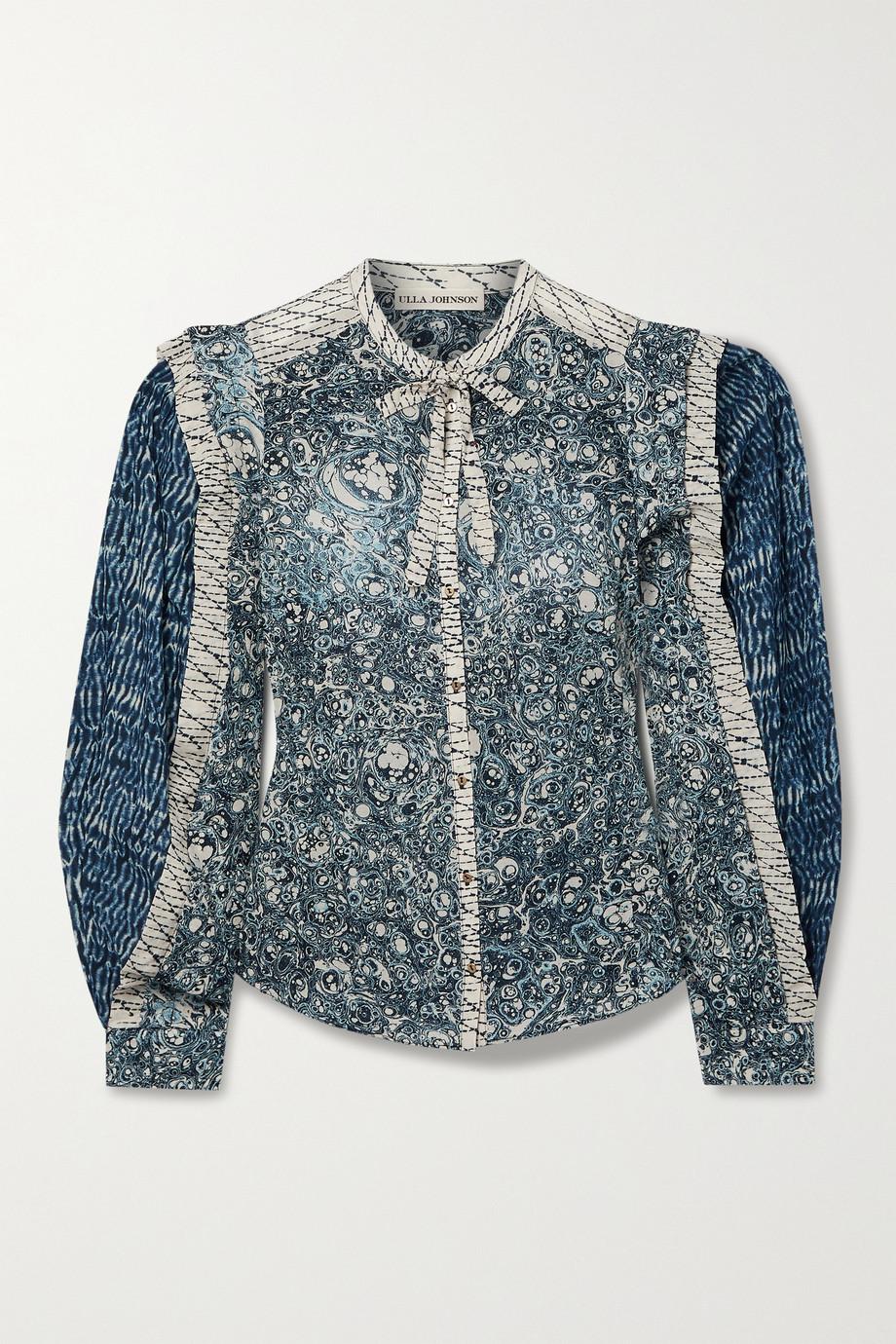 Ulla Johnson Nara patchwork printed cotton-blend voile blouse