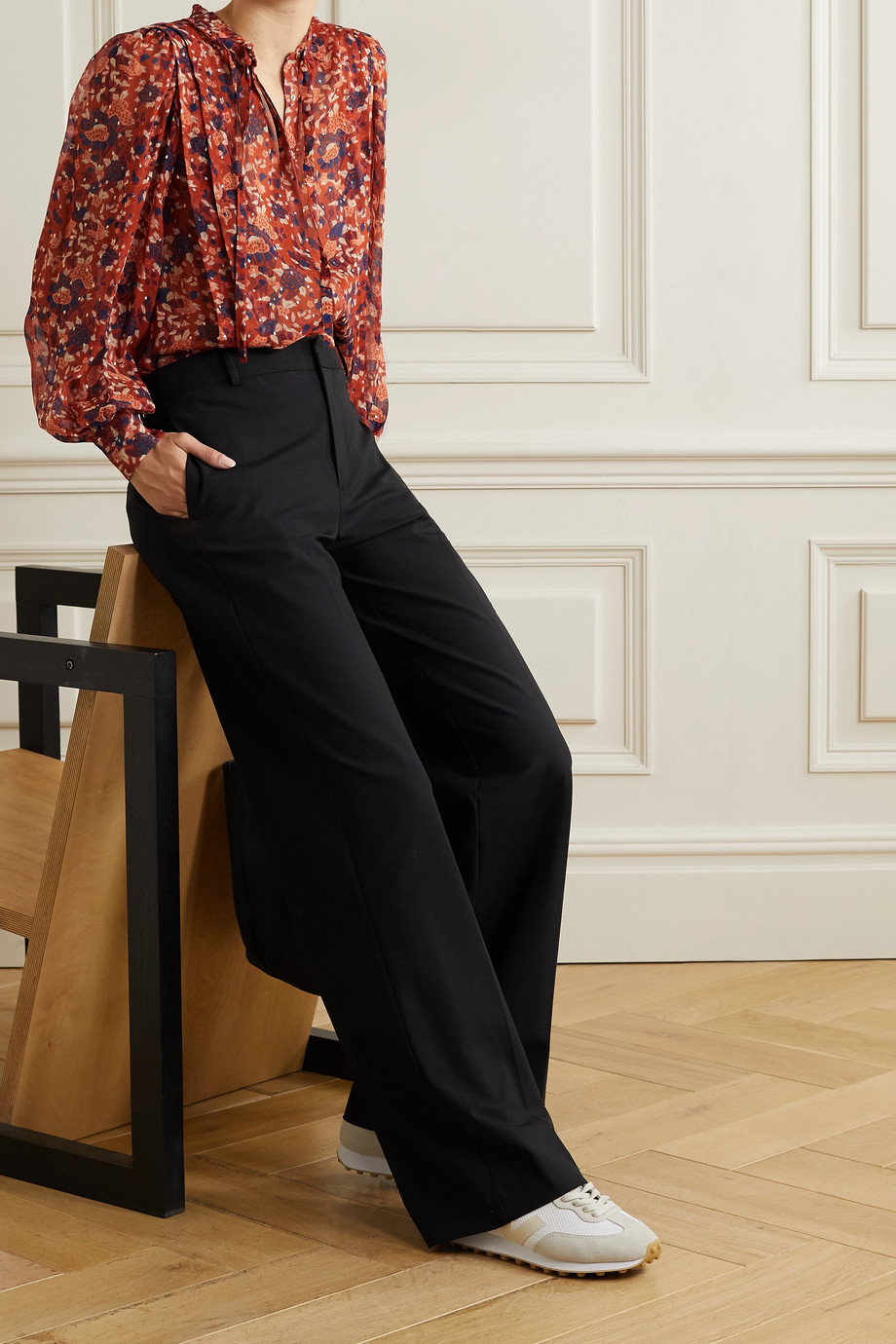 Ulla Johnson Edith floral-print fil coupé silk and Lurex-blend blouse