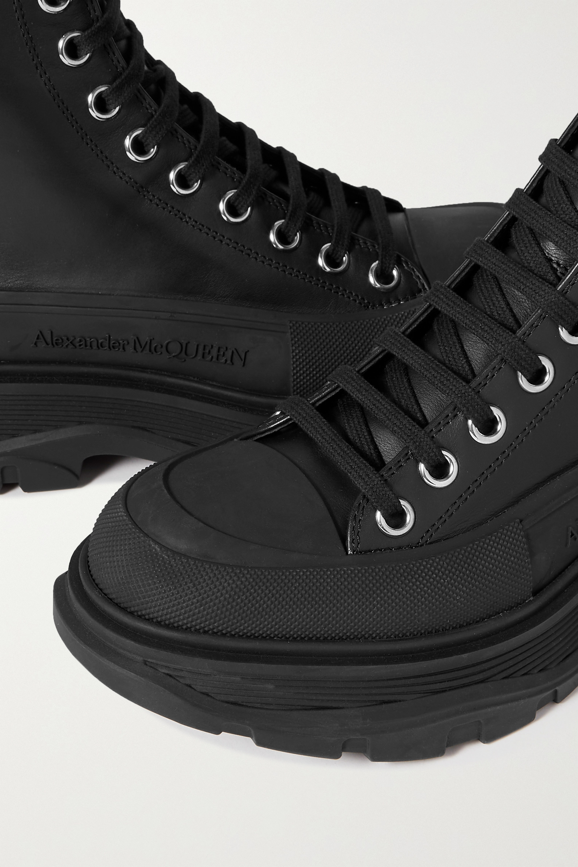 Alexander McQueen Leather and rubber exaggerated-sole ankle boots