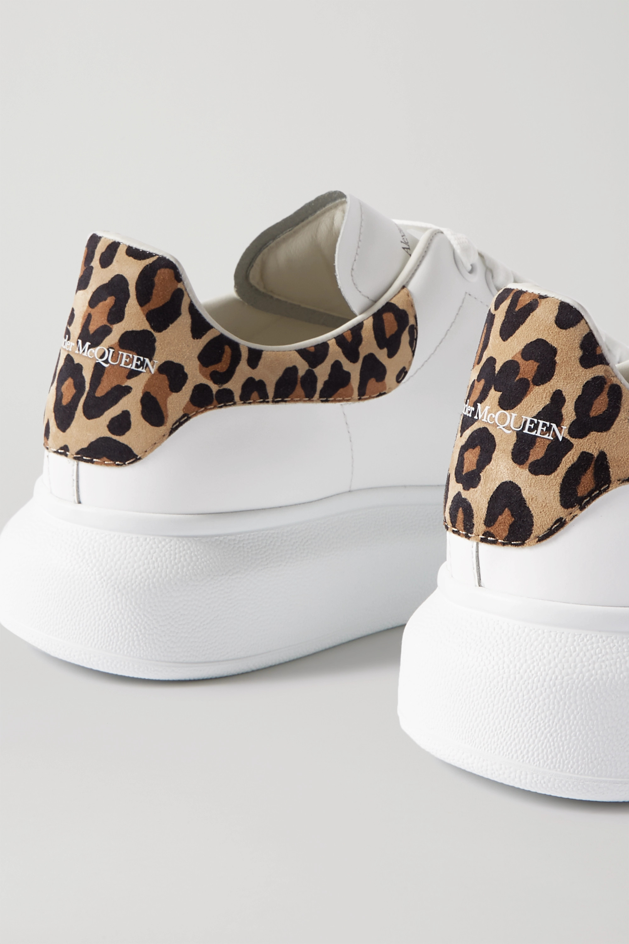 Alexander McQueen Leopard-print suede and leather exaggerated-sole sneakers
