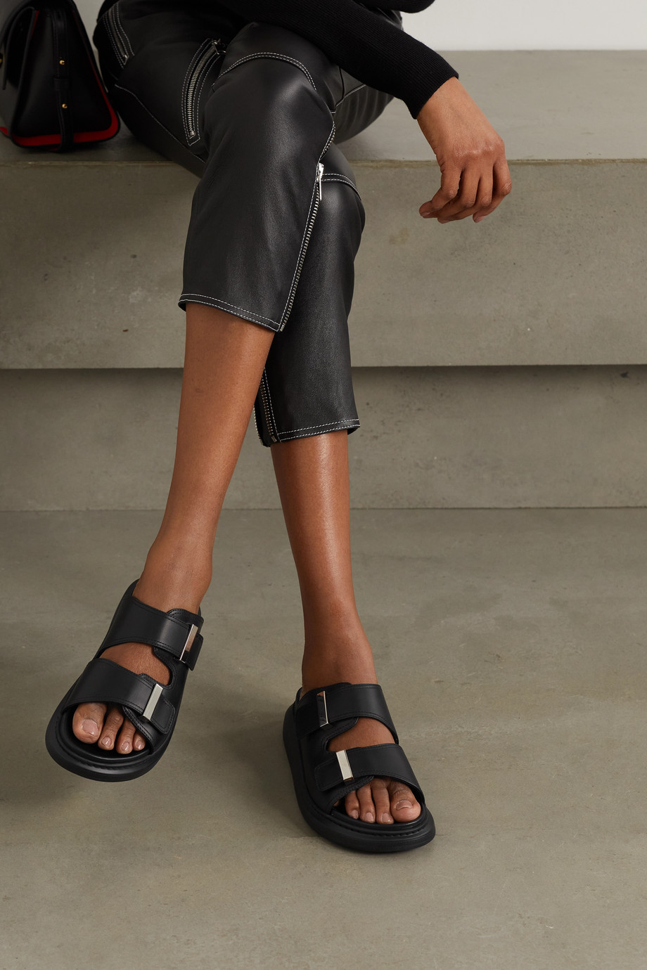 Alexander McQueen Leather exaggerated-sole sandals
