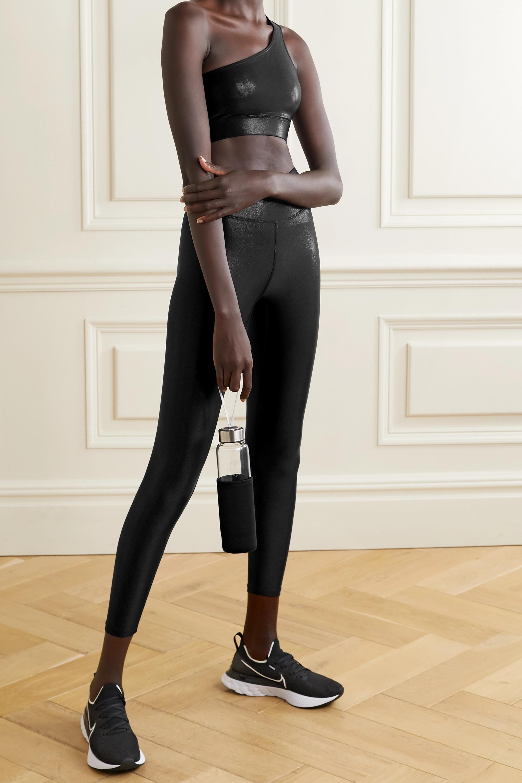 Heroine Sport One-shoulder cutout metallic stretch sports bra