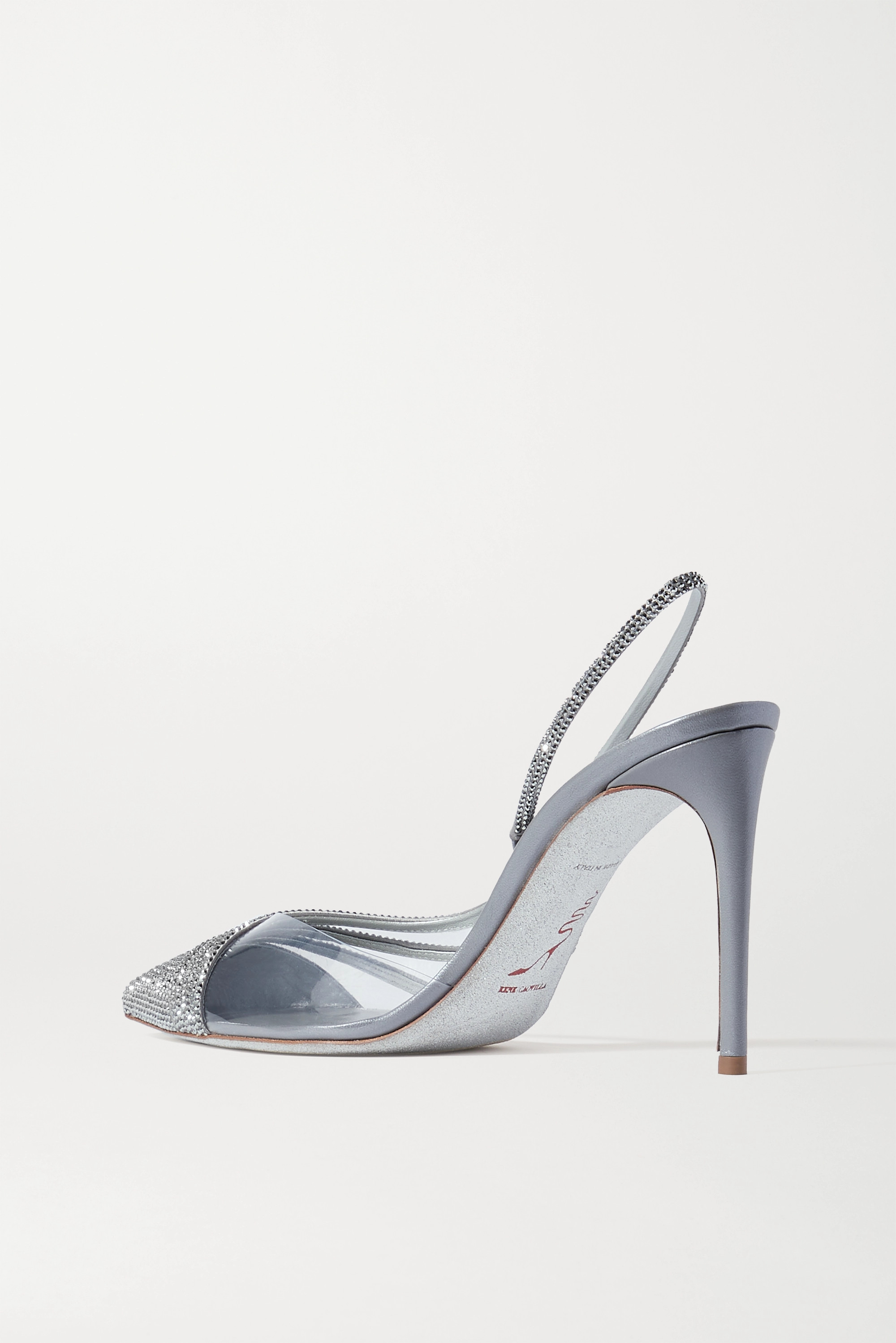 René Caovilla Crystal-embellished satin and PVC slingback pumps