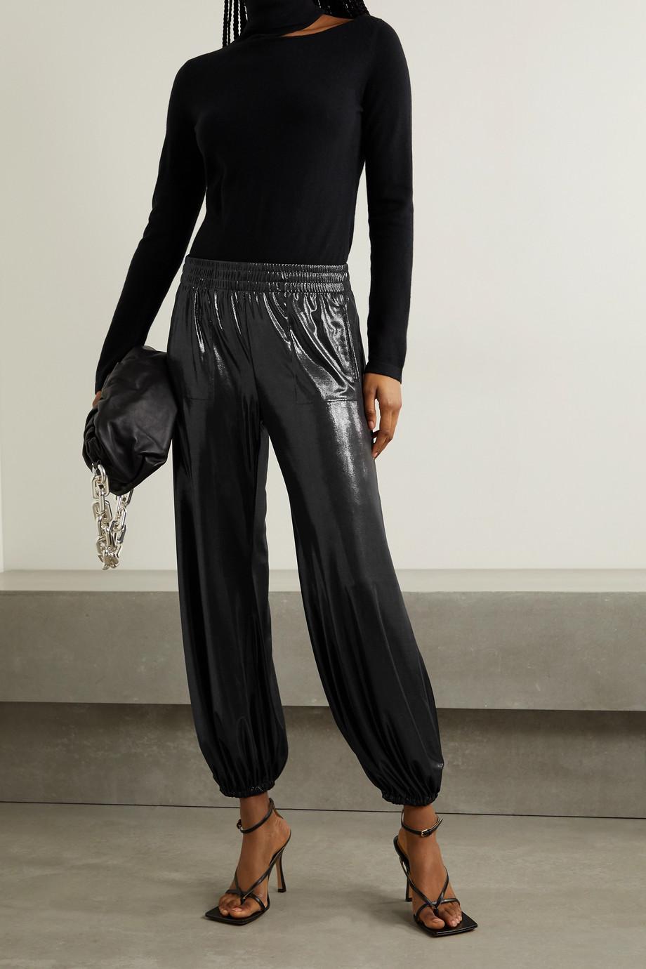 Norma Kamali Lamé track pants