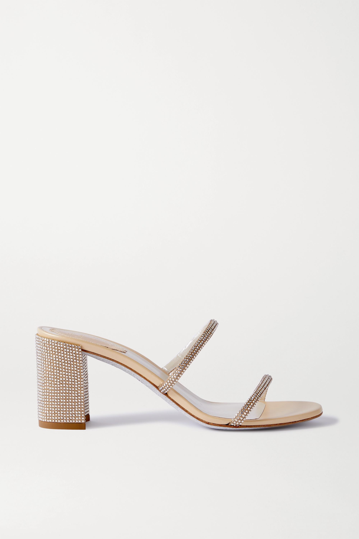 René Caovilla Bessie crystal-embellished metallic leather sandals