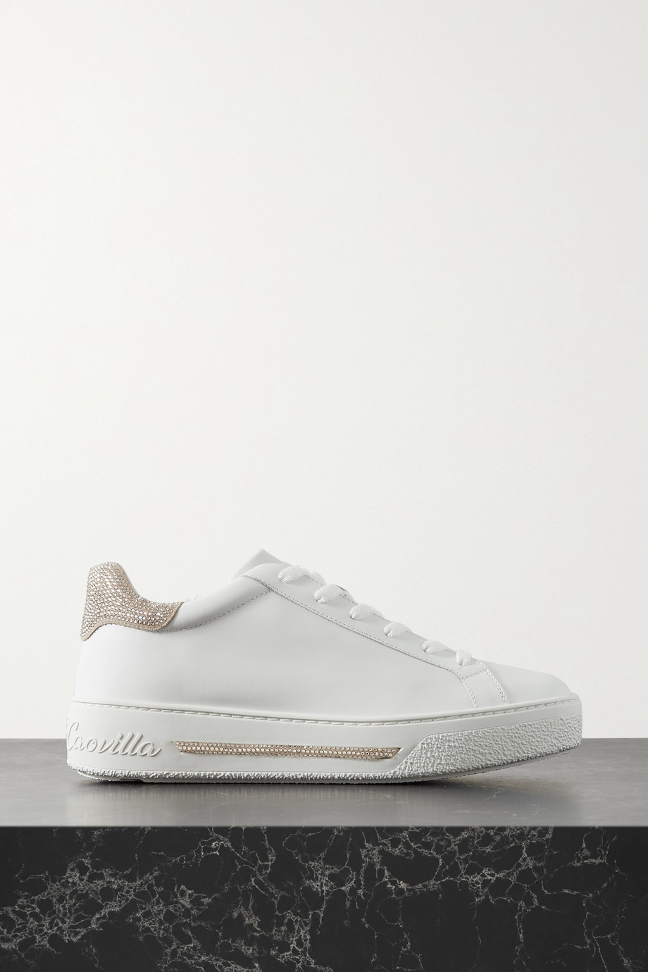 René Caovilla Crystal-embellished leather sneakers