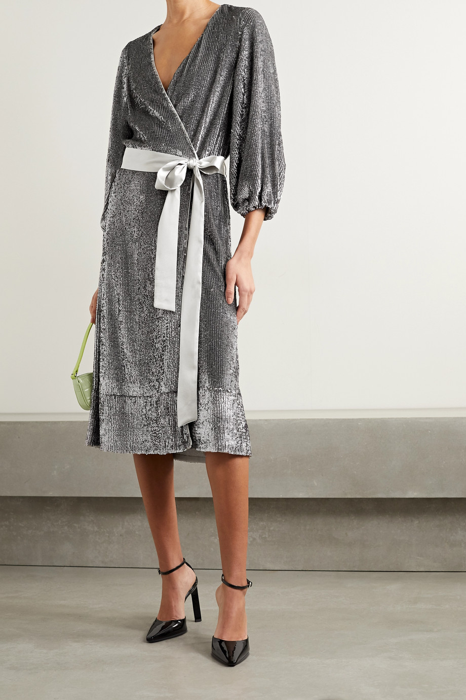 Alice + Olivia Anne satin-trimmed sequined crepe de chine wrap midi dress