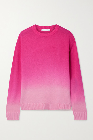 Alice And Olivia Cashmeres GLEESON OMBRÉ CASHMERE-BLEND SWEATER
