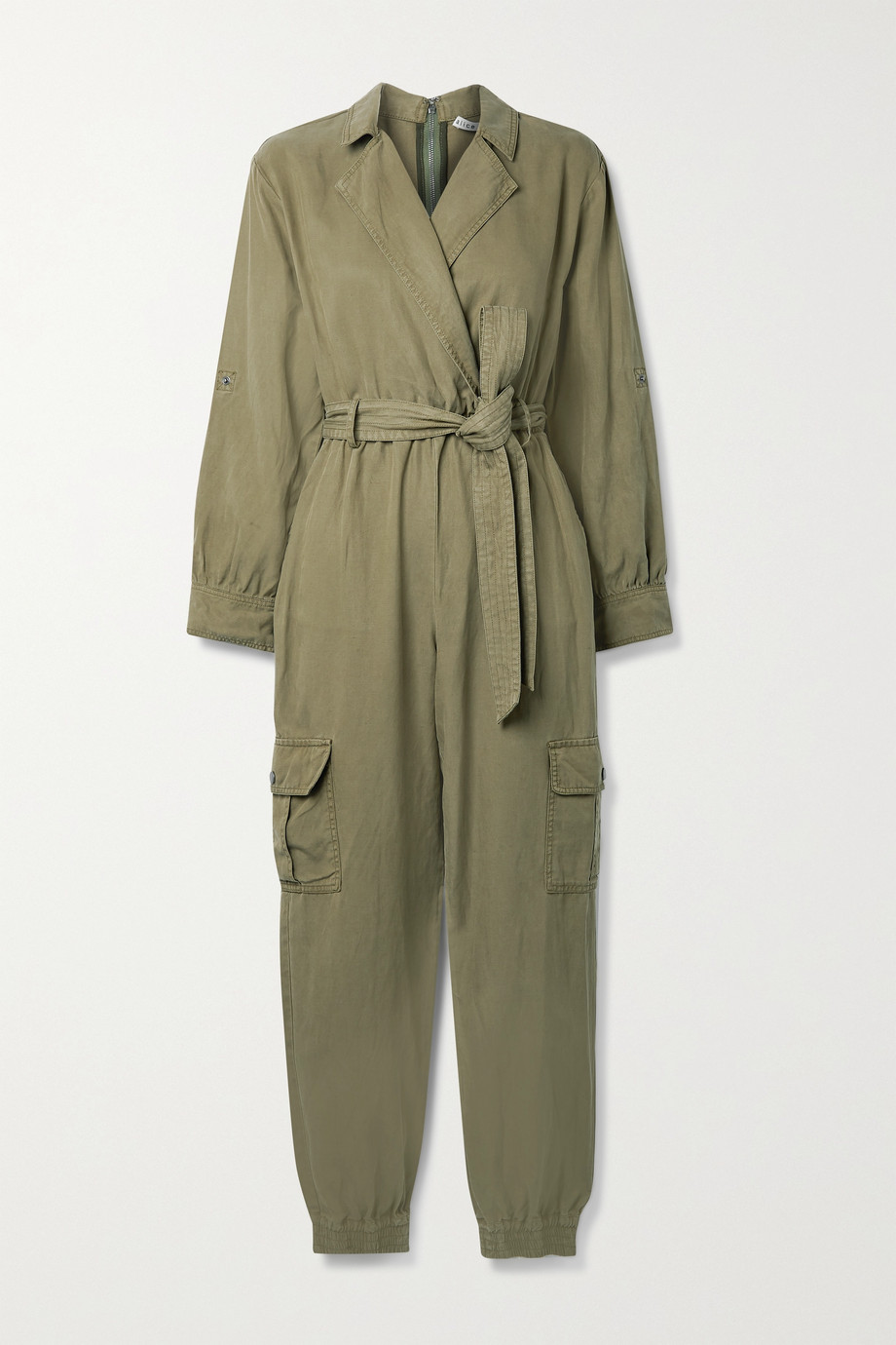 Alice + Olivia Bessie TENCEL Lyocell, linen and cotton-blend twill jumpsuit