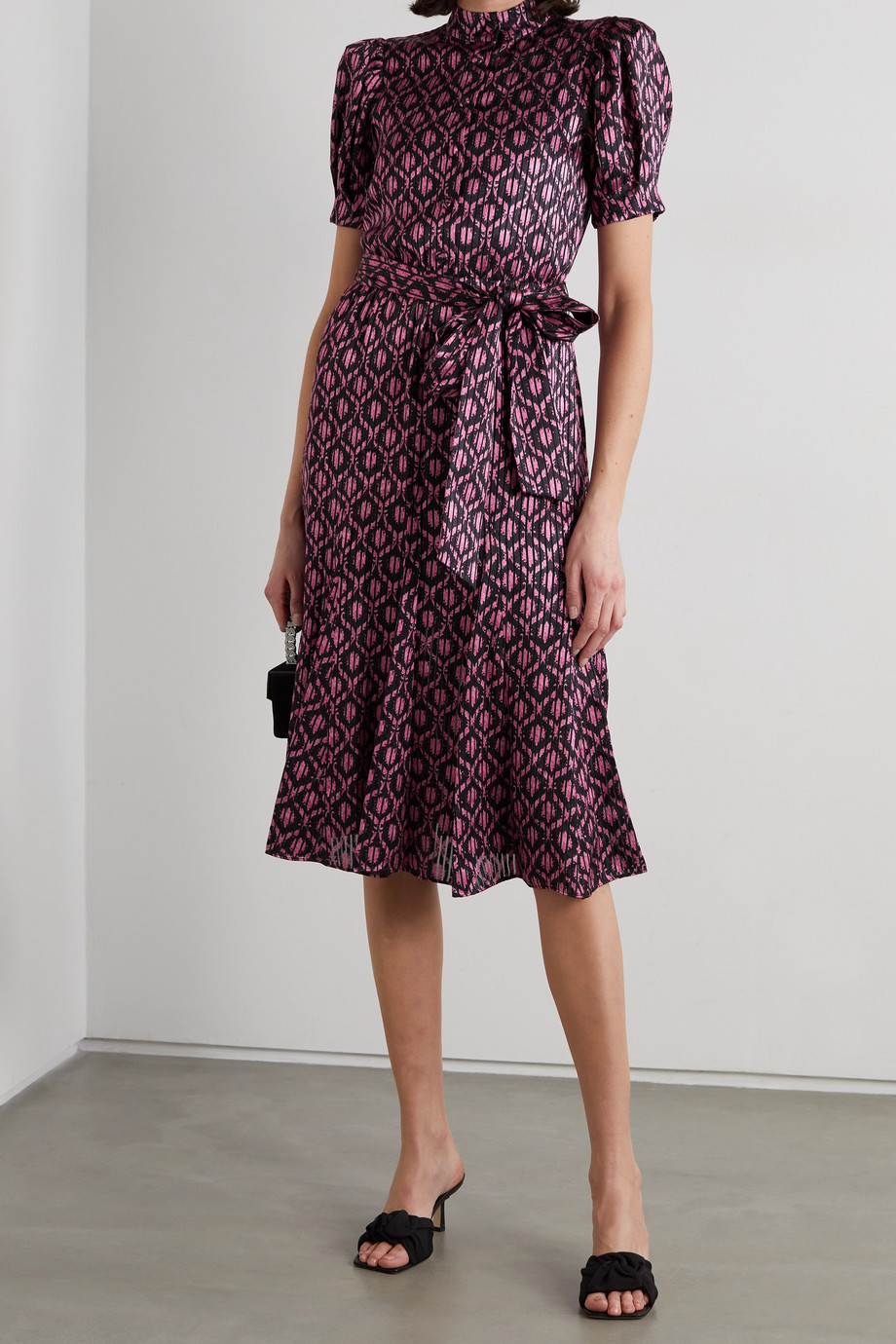 Alice + Olivia Neoma belted floral-print satin midi dress