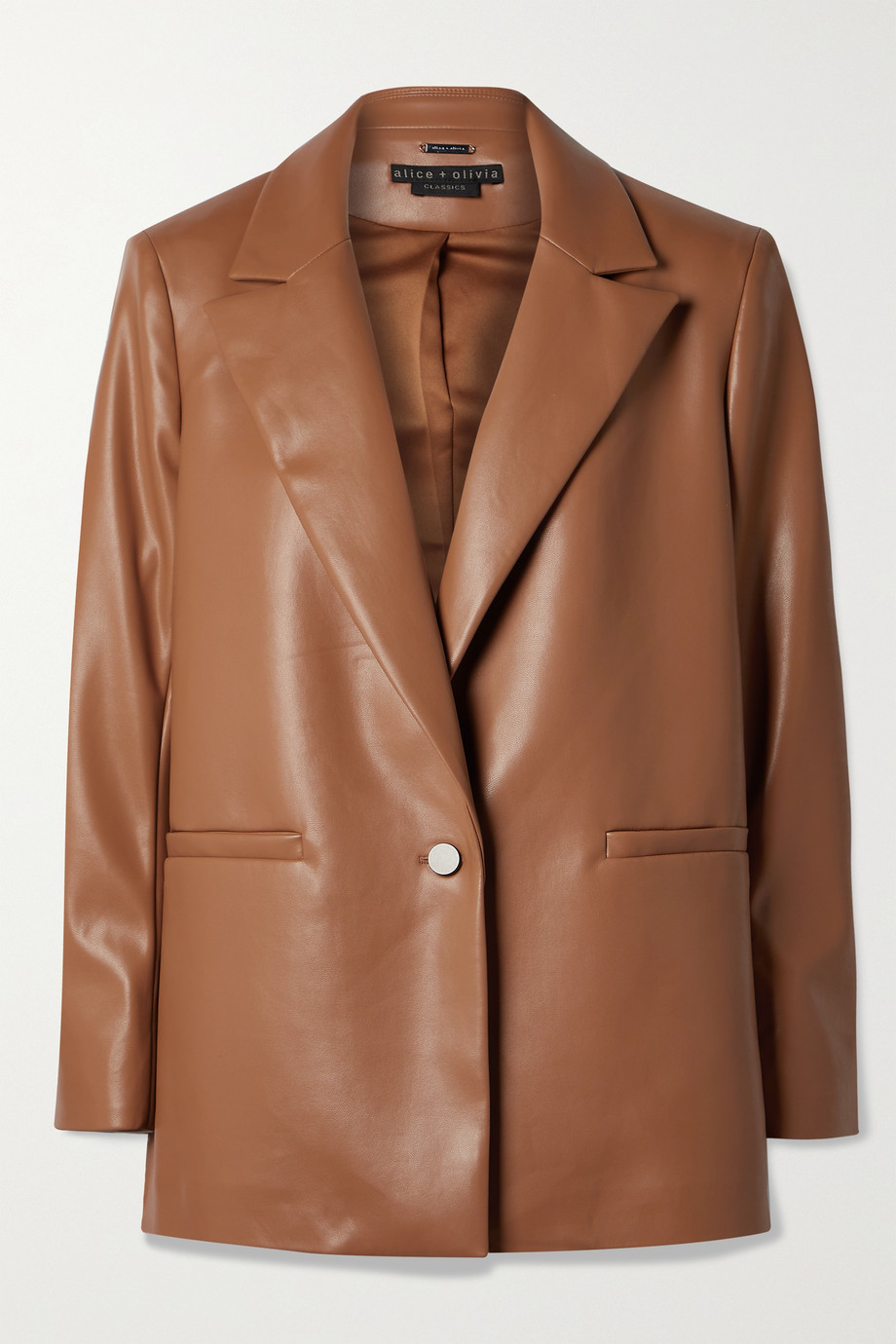 Alice + Olivia Dunn vegan leather blazer