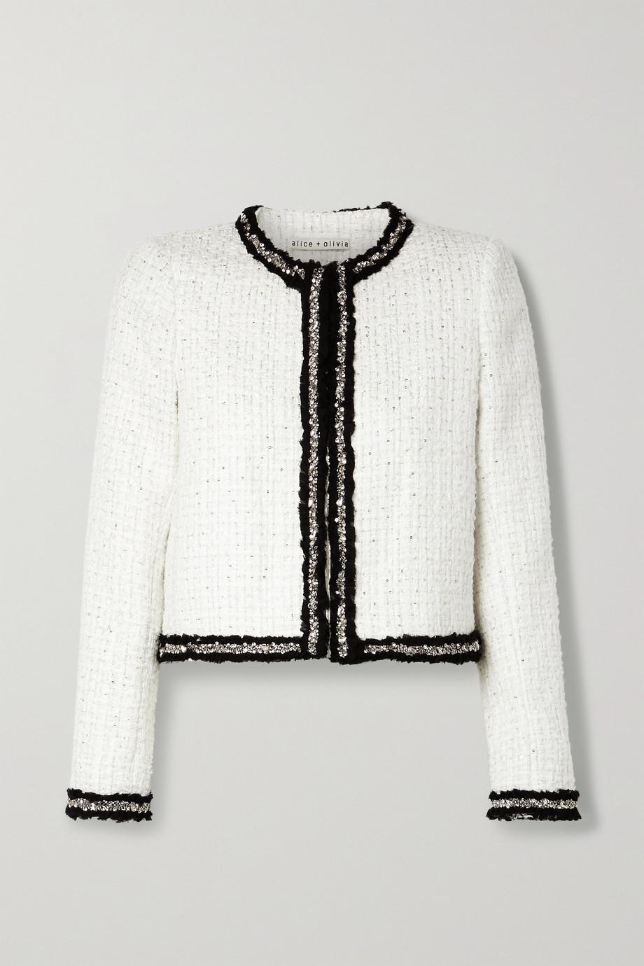 Alice + Olivia Kidman embellished metallic tweed jacket