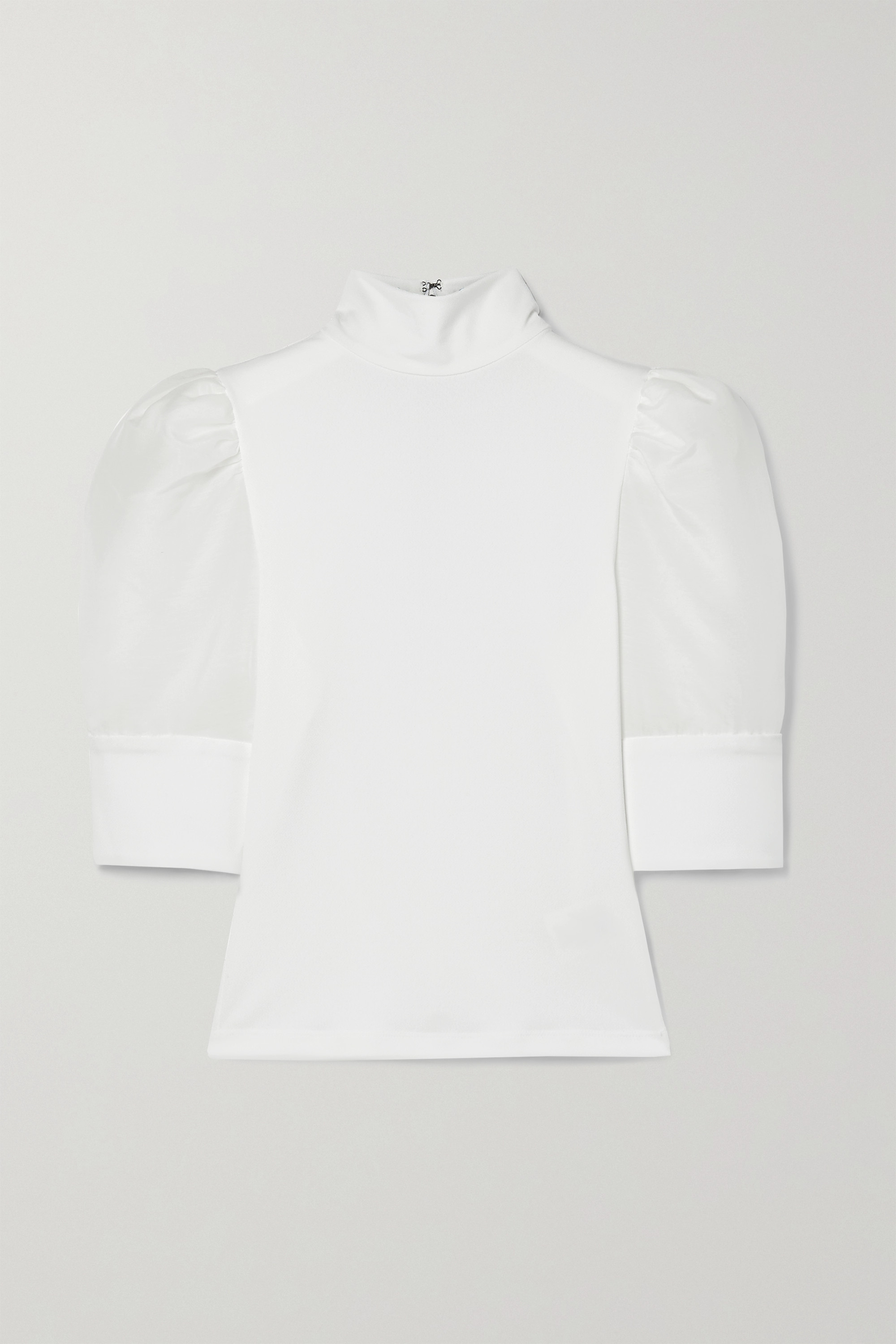 Alice + Olivia Mckayla crepe and cotton and silk-blend voile top