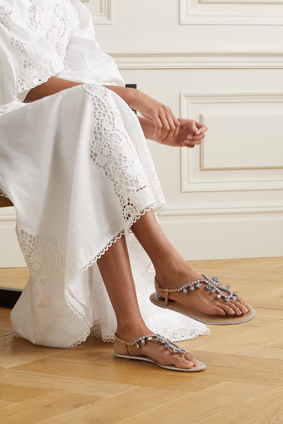 René Caovilla Crystal-embellished leather slingback sandals