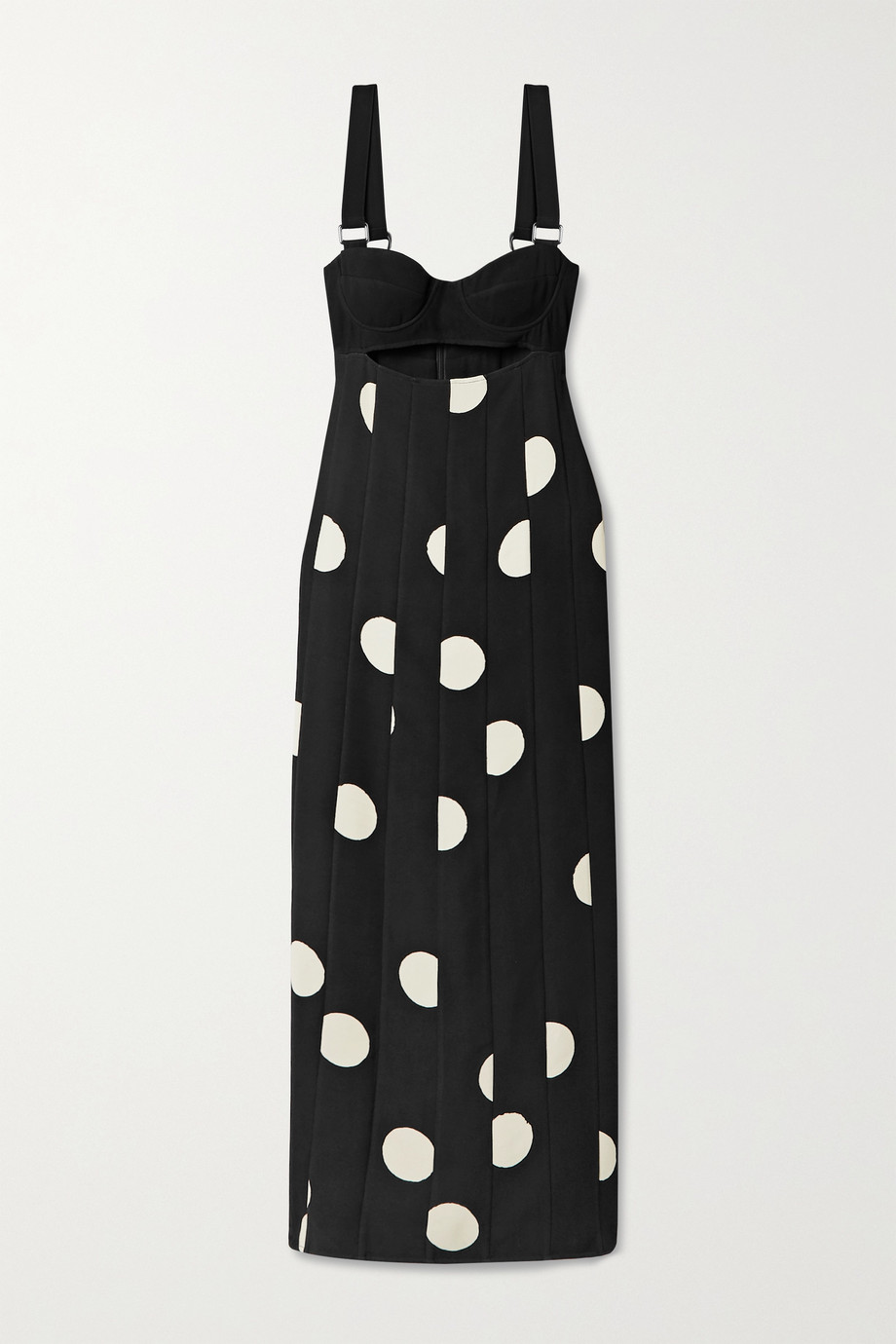 Proenza Schouler Cutout polka-dot crepe midi dress
