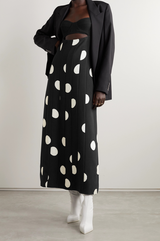 Proenza Schouler Cutout polka-dot crepe midi dress