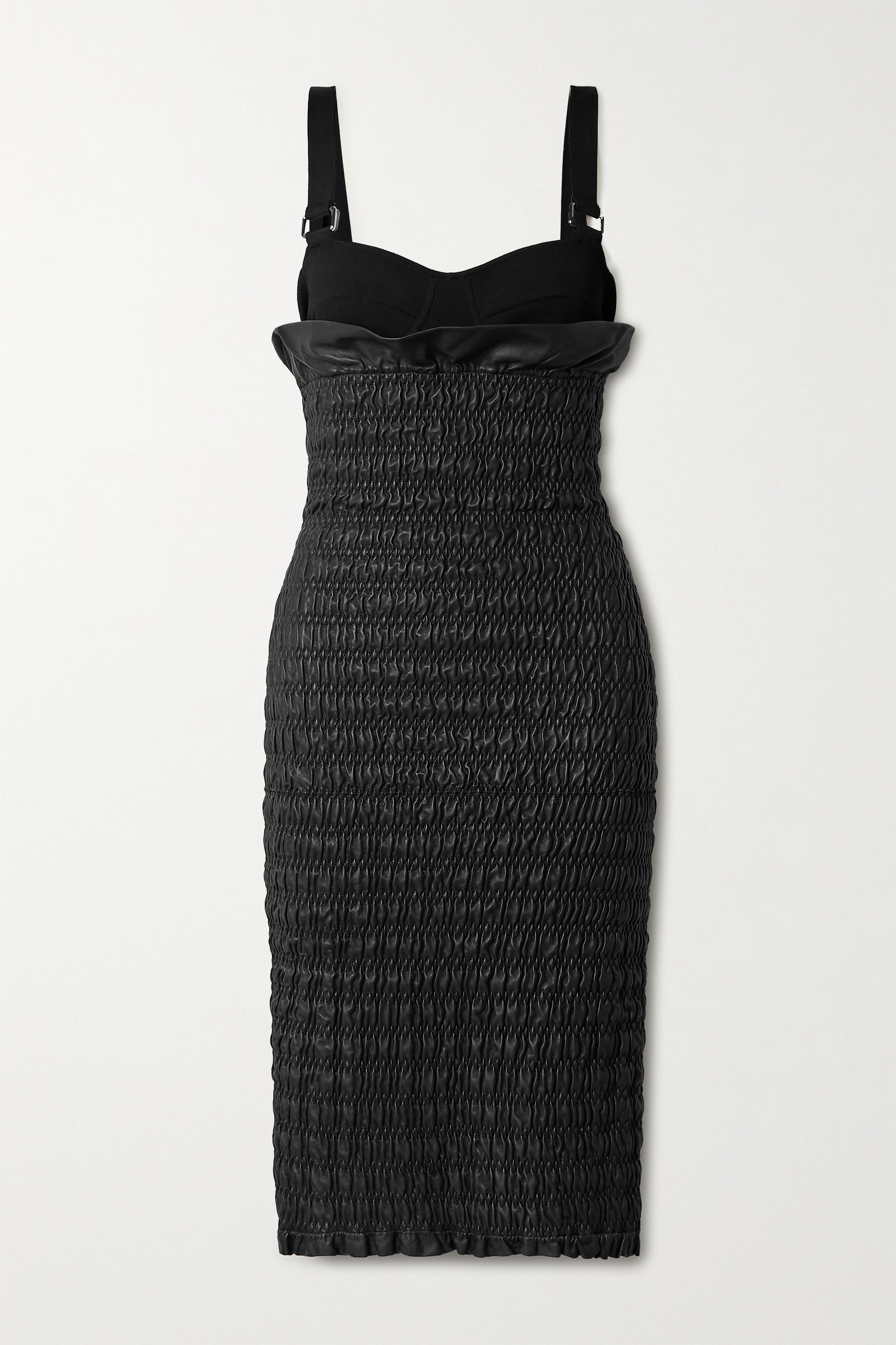 Proenza Schouler Layered smocked leather and stretch-knit dress