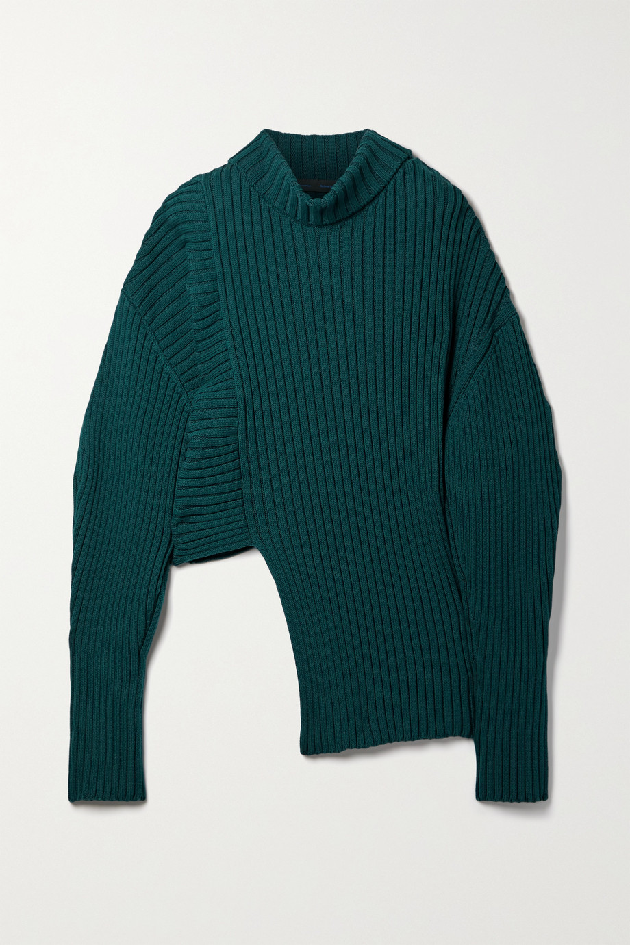 Proenza Schouler Asymmetric ribbed cotton, cashmere and silk-blend turtleneck sweater