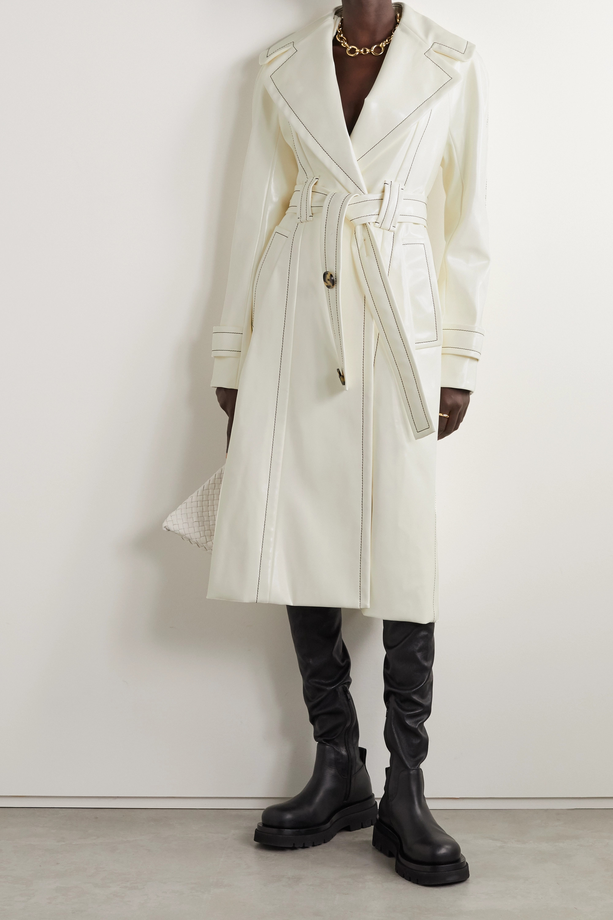Proenza Schouler Belted glossed faux leather coat