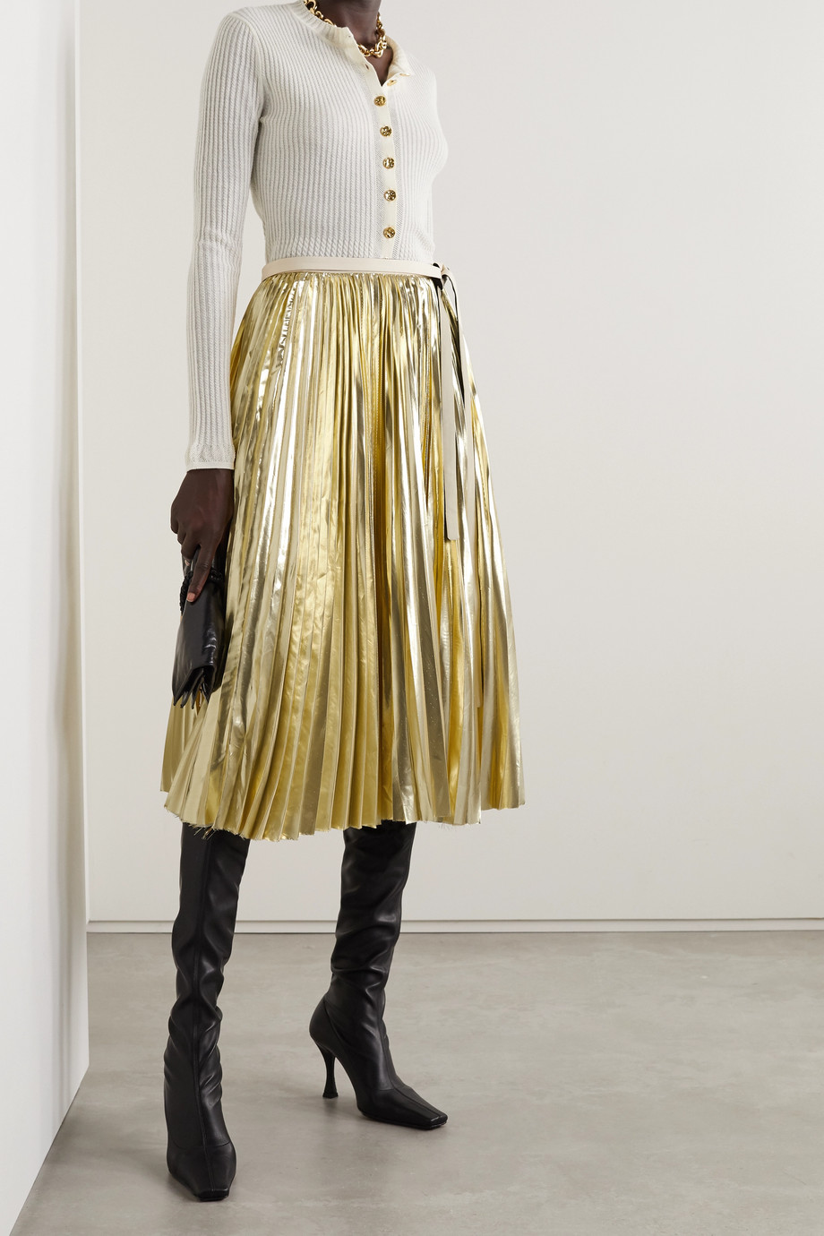 Proenza Schouler Pleated lamé wrap midi skirt