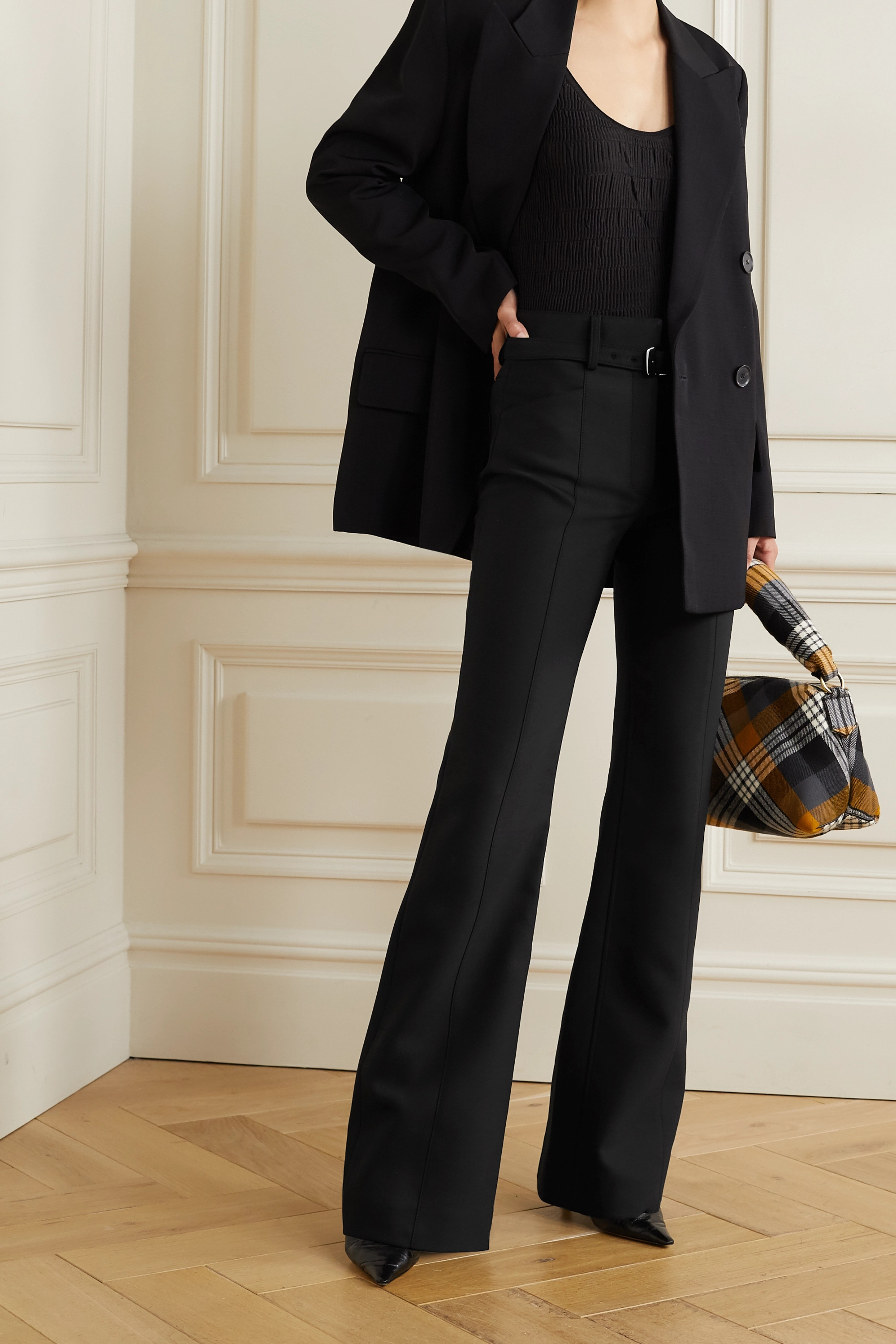 Proenza Schouler Belted wool-blend flared pants