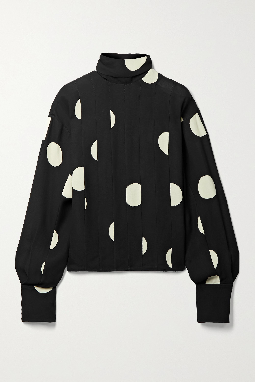 Proenza Schouler Paneled polka-dot georgette blouse