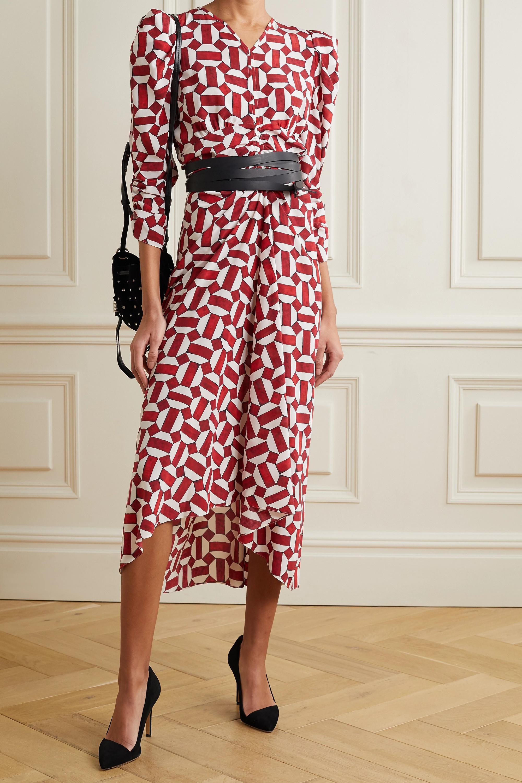 Isabel Marant Albi ruched printed silk-blend dress
