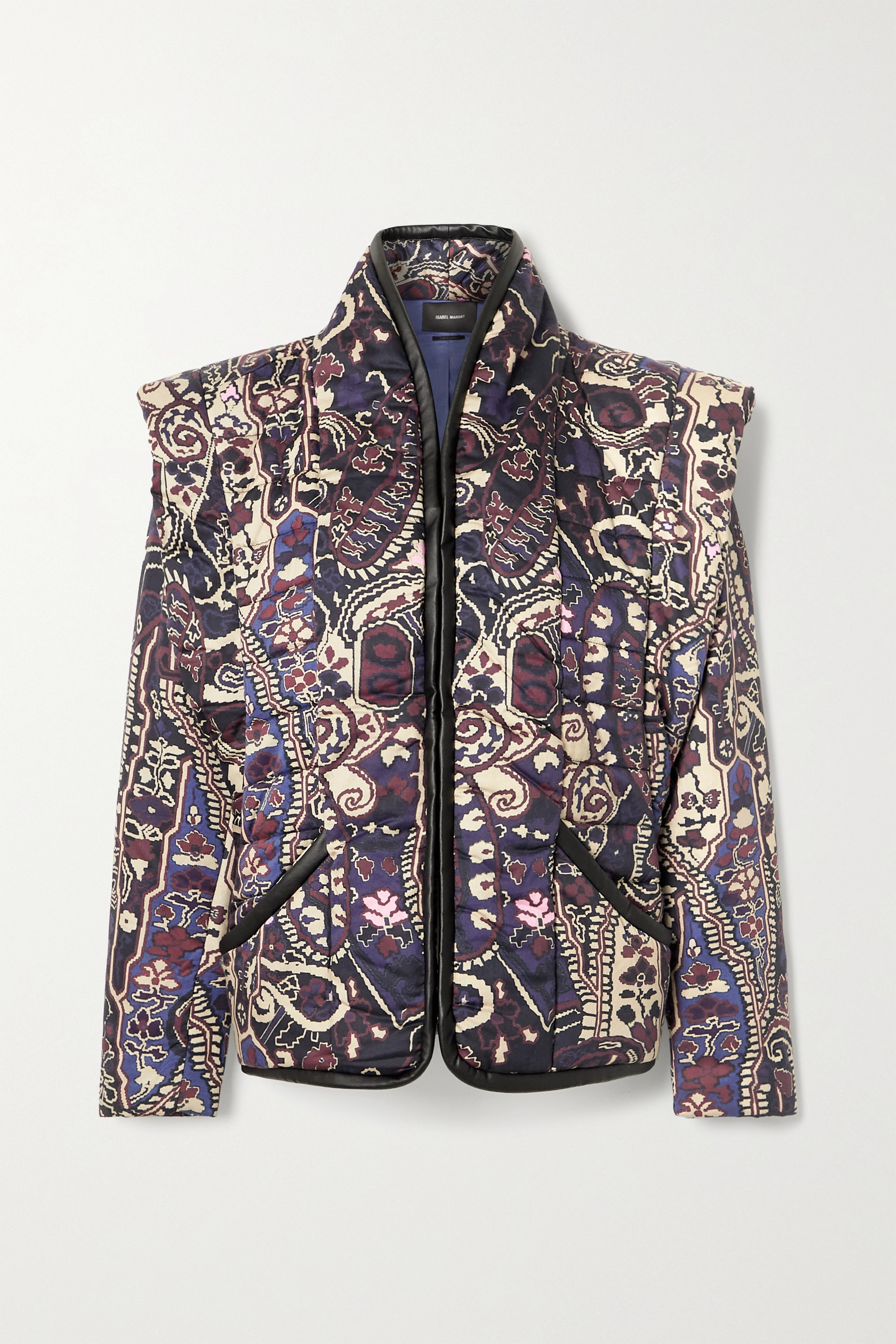 Isabel Marant Janissa convertible faux leather-trimmed floral-print cotton jacket