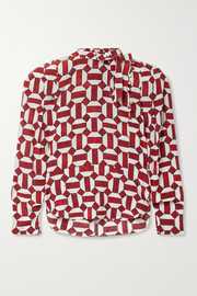 Isabel Marant Artus tie-neck printed stretch-silk crepe blouse