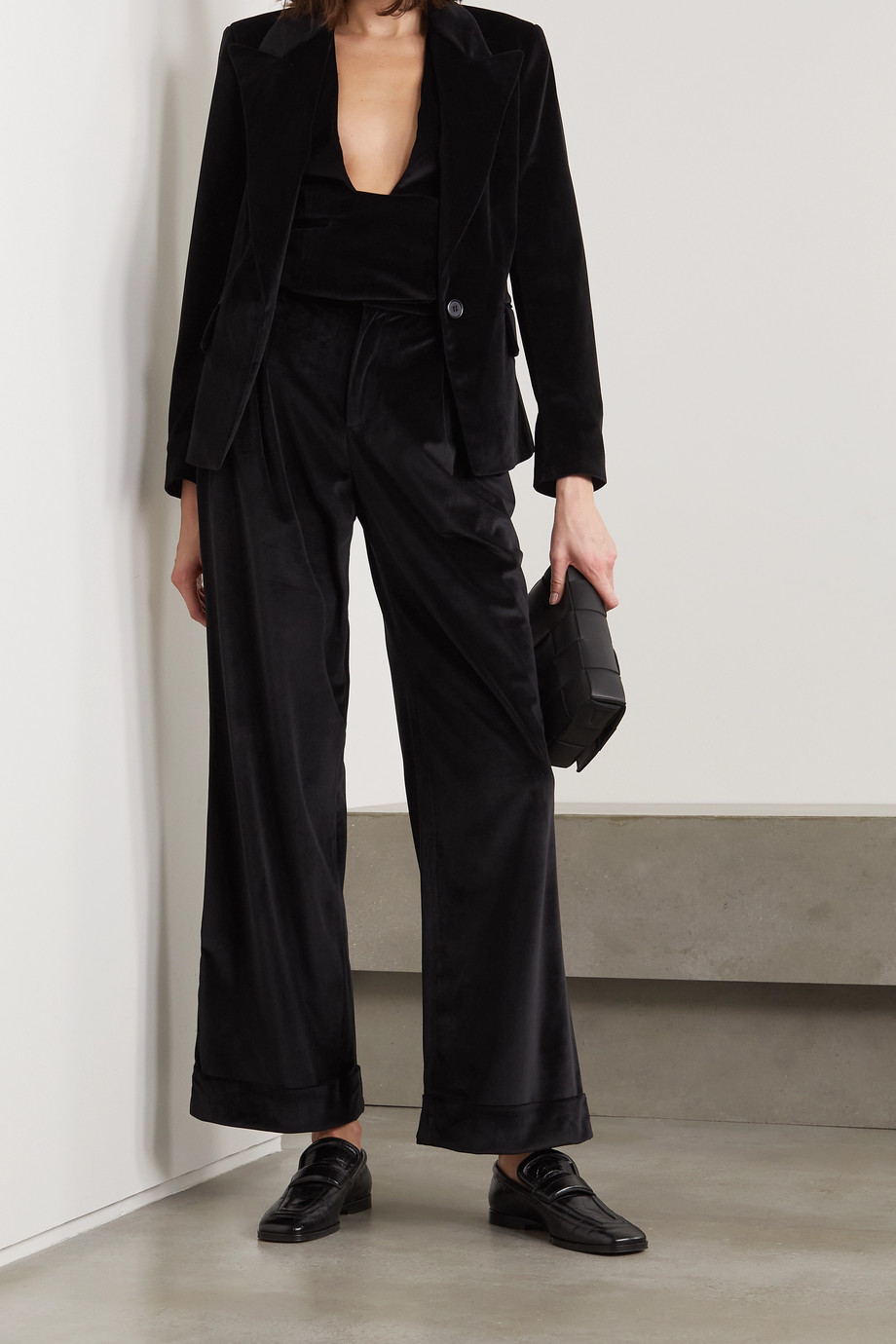 Àcheval Pampa Gardel pleated velvet straight-leg pants