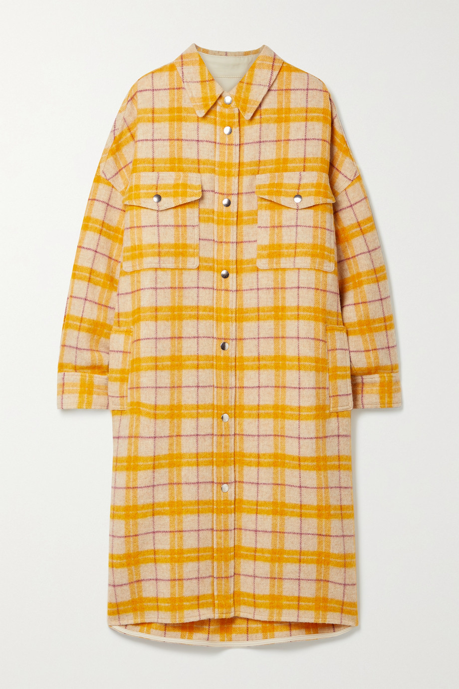 Isabel Marant Étoile Fontia oversized checked wool-blend flannel coat