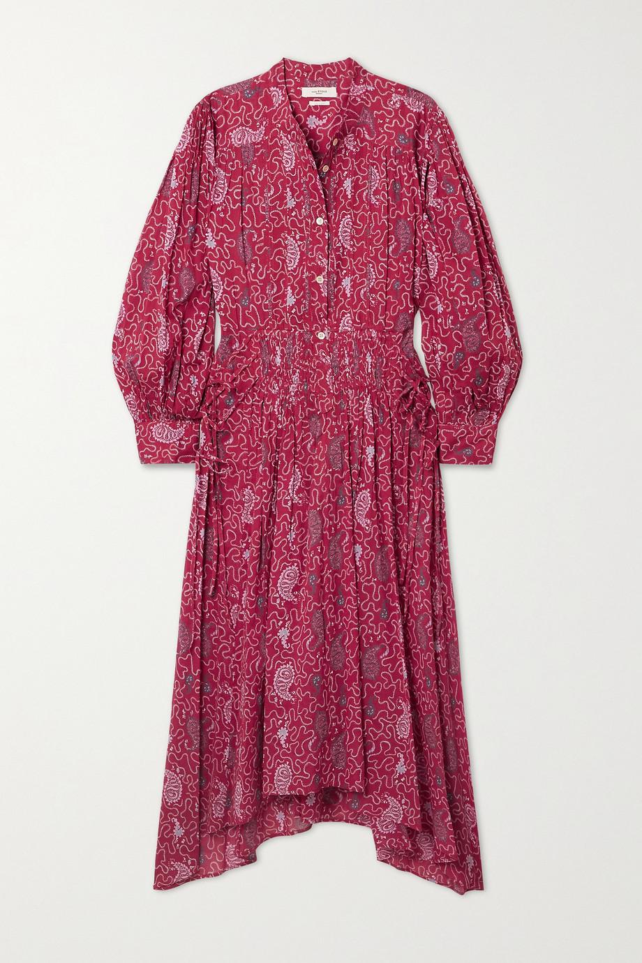 Isabel Marant Étoile Robe midi asymétrique en coton imprimé à lacets Ariana