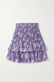 Isabel Marant Étoile Naomi shirred tiered floral-print cotton-voile mini skirt