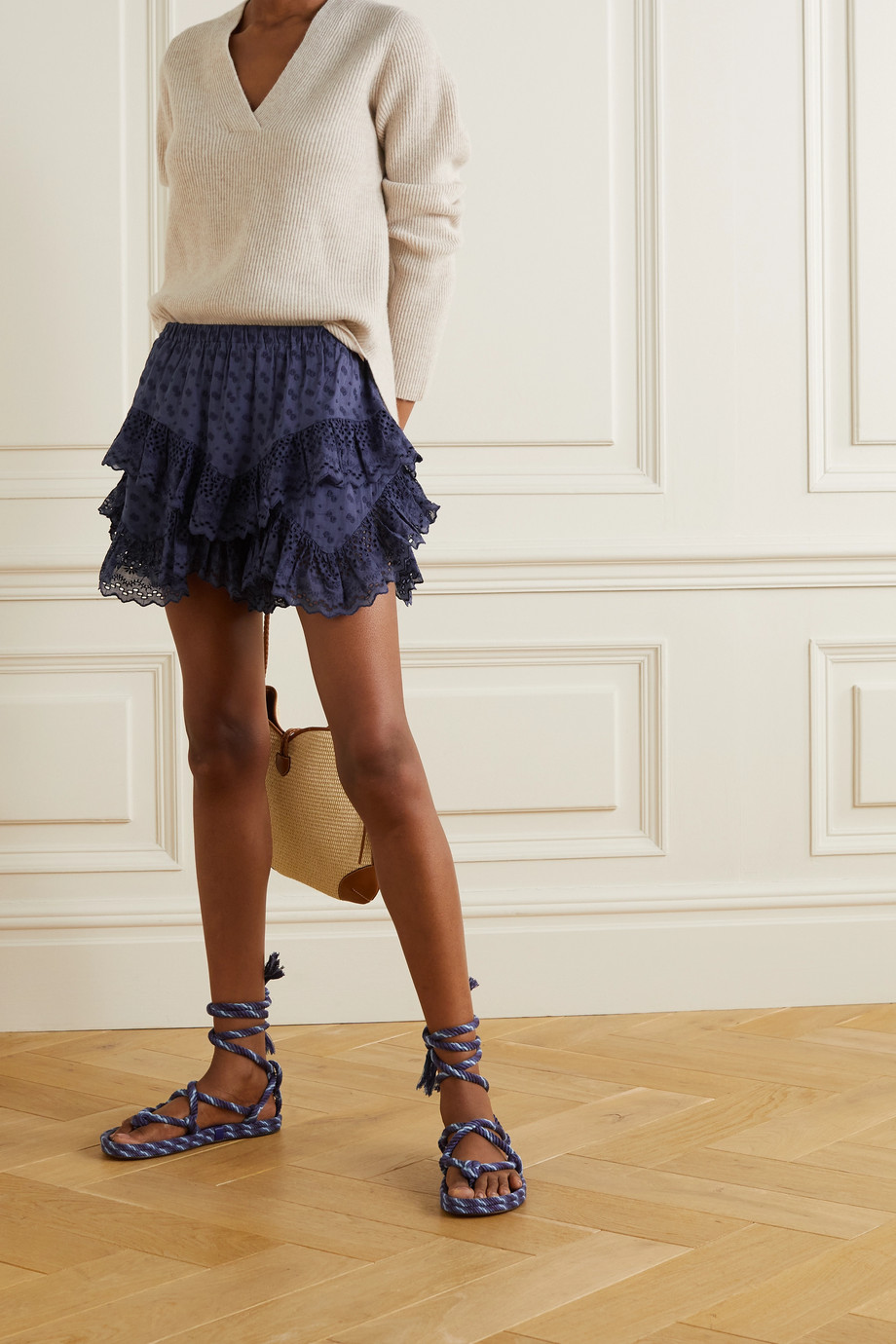 Isabel Marant Étoile Teocadia ruffled broderie anglaise cotton shorts