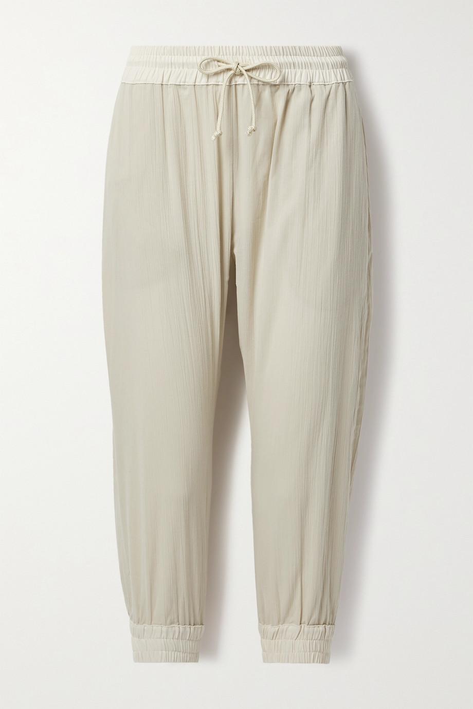Paradised + NET SUSTAIN crinkled cotton-gauze track pants