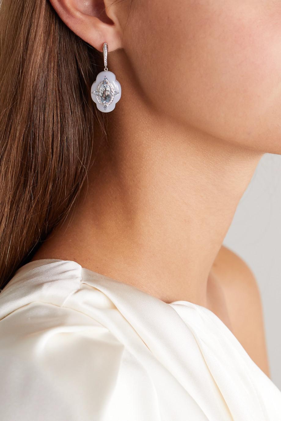 Boghossian 18-karat white gold, chalcedony, aquamarine and diamond earrings