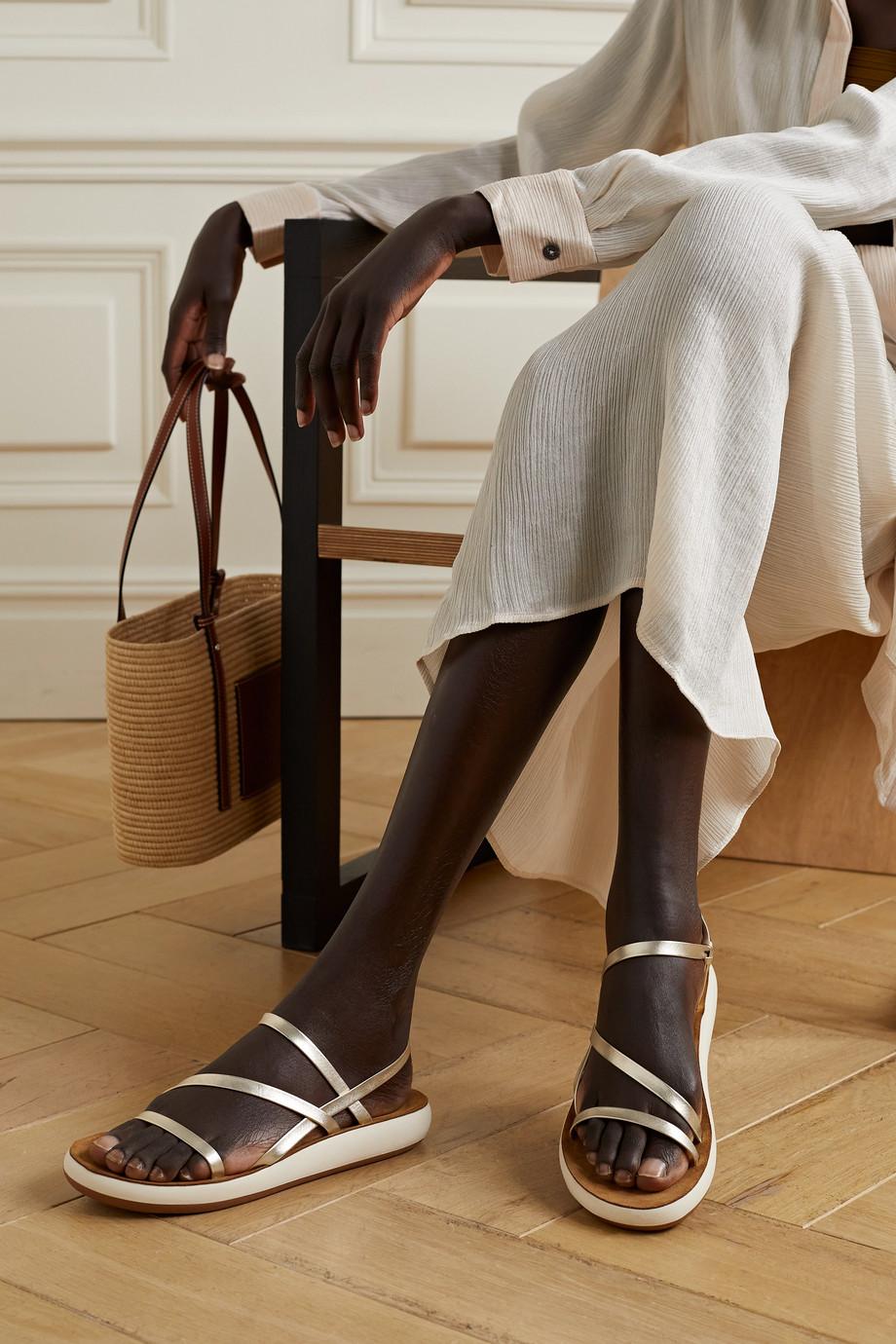 Ancient Greek Sandals Dimitra metallic leather slingback sandals