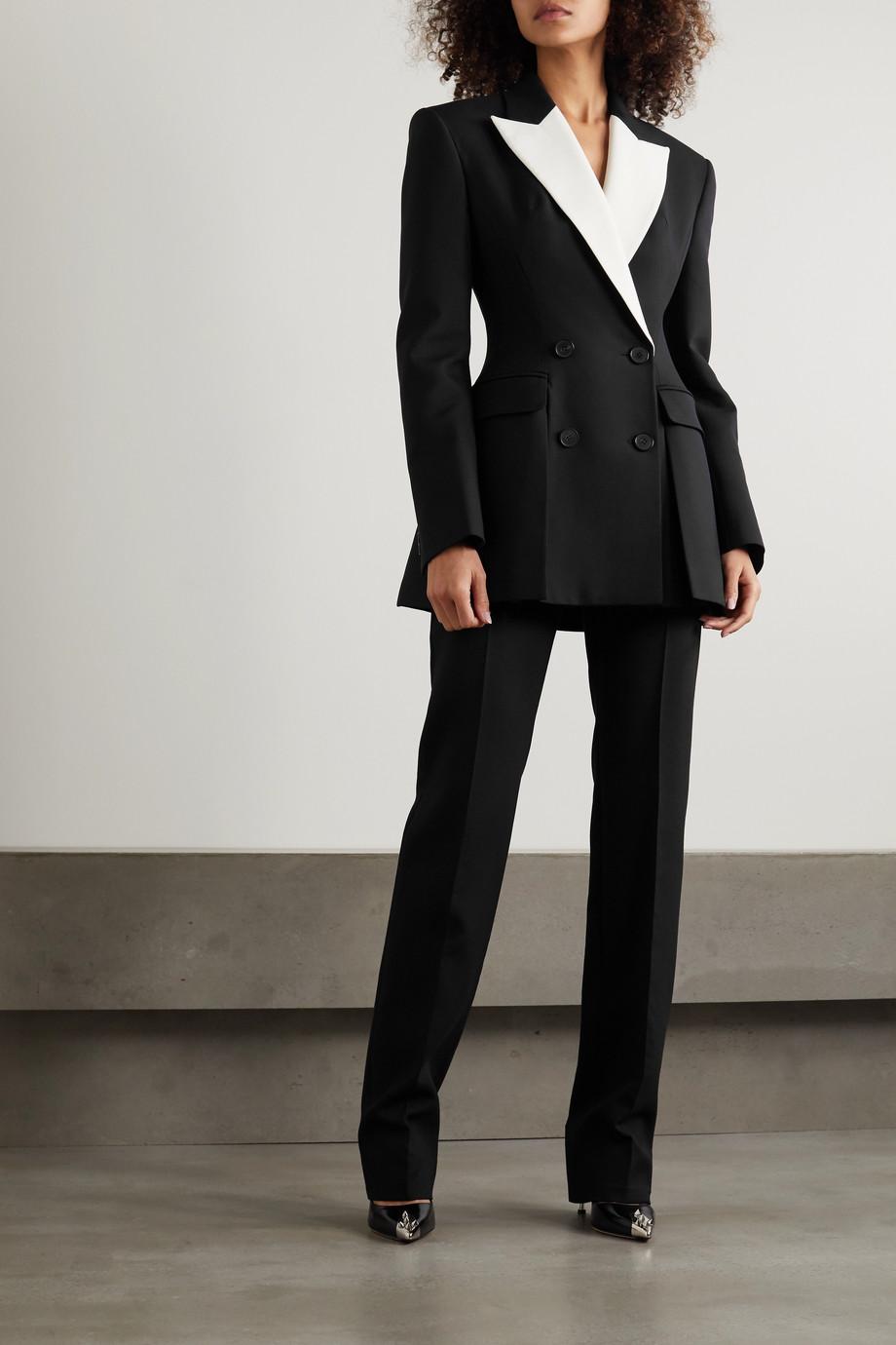 Alexander McQueen 双排扣双色粒纹羊毛混纺西装外套